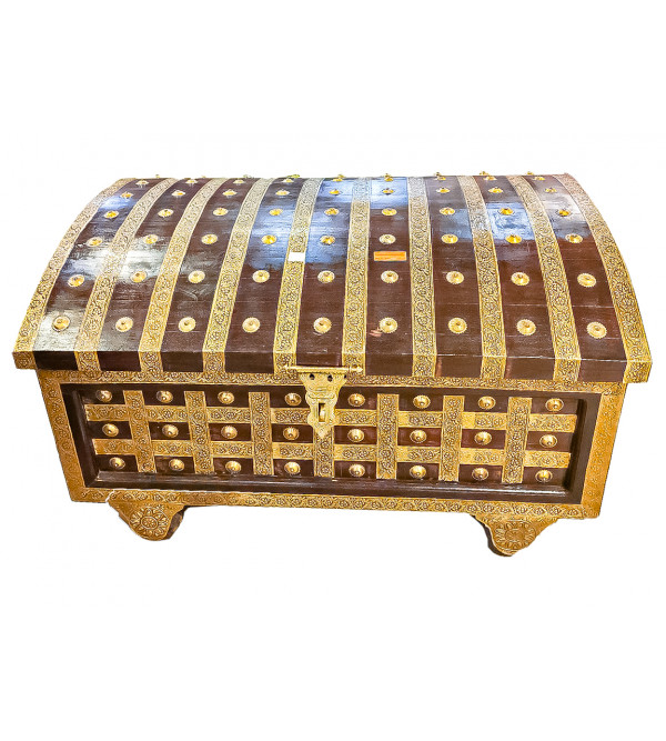 42X30X24 INCH MANGO WOOD PITARA BOX WITH BRASS PATRA WORK WITH WHEELS