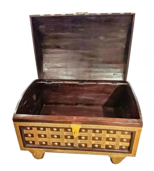 42X30X24 INCH MANGO WOOD PITARA BOX WITH BRASS PATRA WORK WITH WHEELS