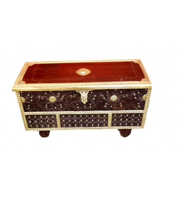 44X24X18 INCH MANGO WOOD PITARA BOX WITH BRASS PATRA WK  WHEELS