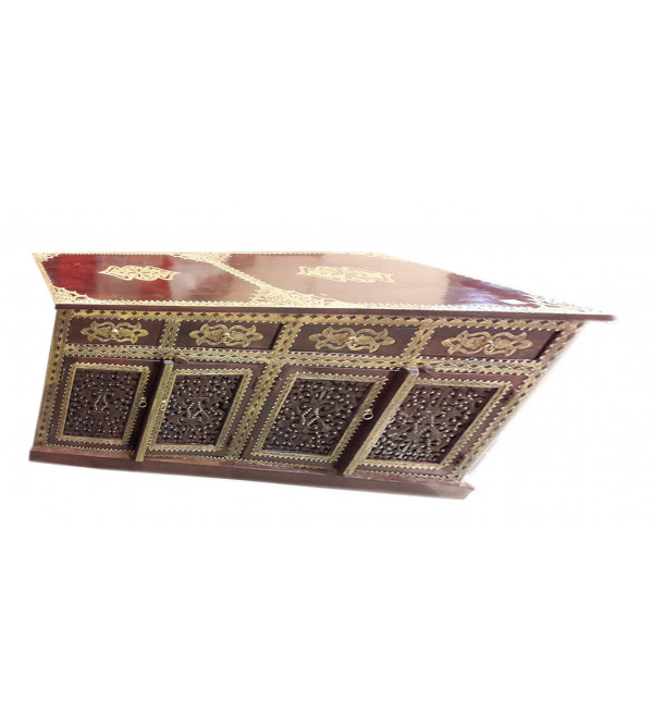 Wooden Sideboard Brass Jali Die 71X20X36 Inch