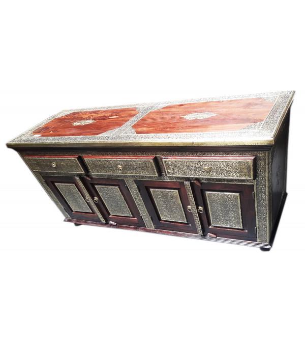 Wooden Sideboard Brass Jali Die  62X32X20 Inch
