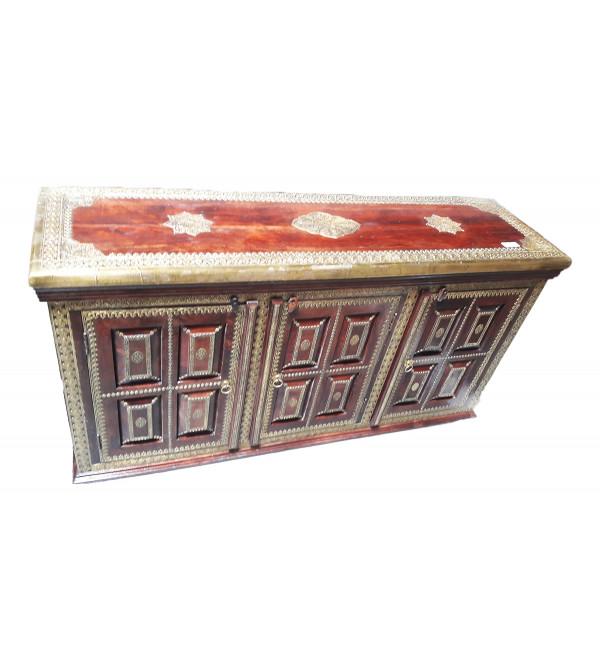 Wooden Sideboard Brass Jali Die 60X17X33