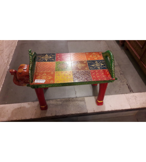 Wooden Stool Elephant Painted 28x11x20 Inch
