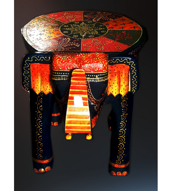 Wooden Stool Elephant Painted 18x14x18 Inch