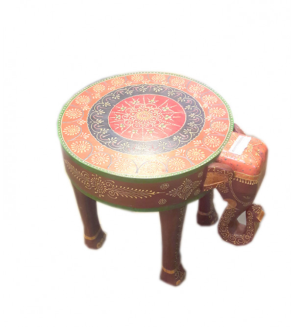 Wooden Stool Elephant 1 Drawer Painted 9X15X15 Inch