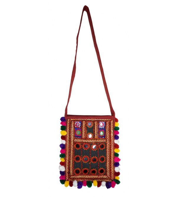 Handcrafted Sling Bag With Aari Sitara Work Size 12x10 Inch