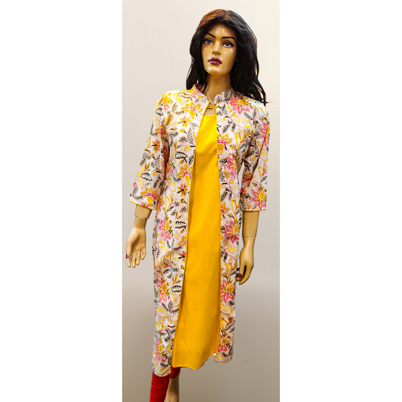 Cotton Hand Block Print Long Kurti