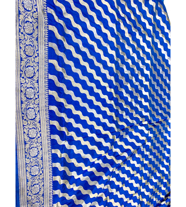 Banaras silk zari stripe HANDLOOM SAREE with blouse