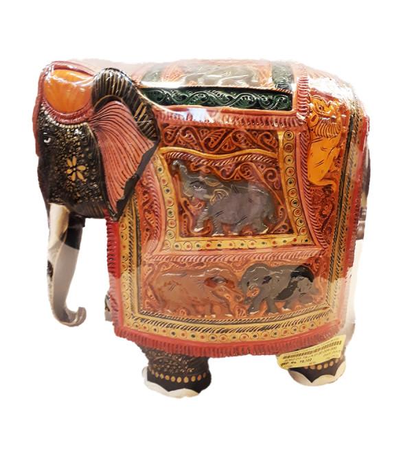 ELEPHANT PAINTED FINE KADAM WOOD 10 INCH