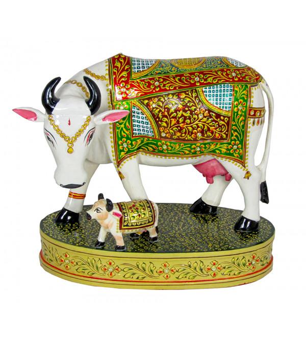 Cow  Painted  Kadamb Wood Size 4 Inch