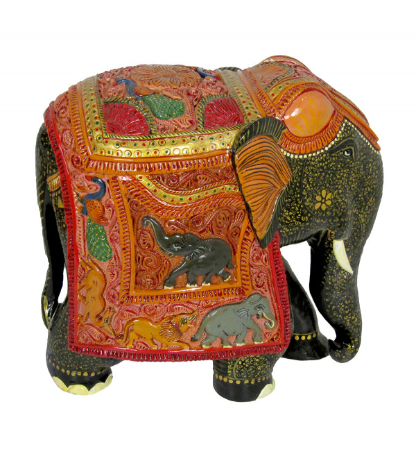 Kadamb Wood Carved painted Elephant Size 10 Inch