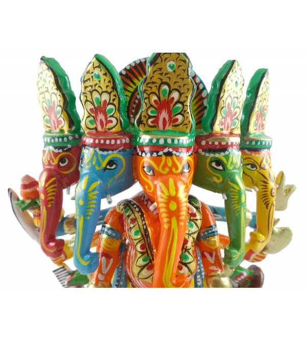 HANDICRAFT WOODEN GANESH 7 INCH