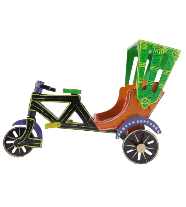 HANDICRAFT WOODEN RIKSHAW 9 INCH