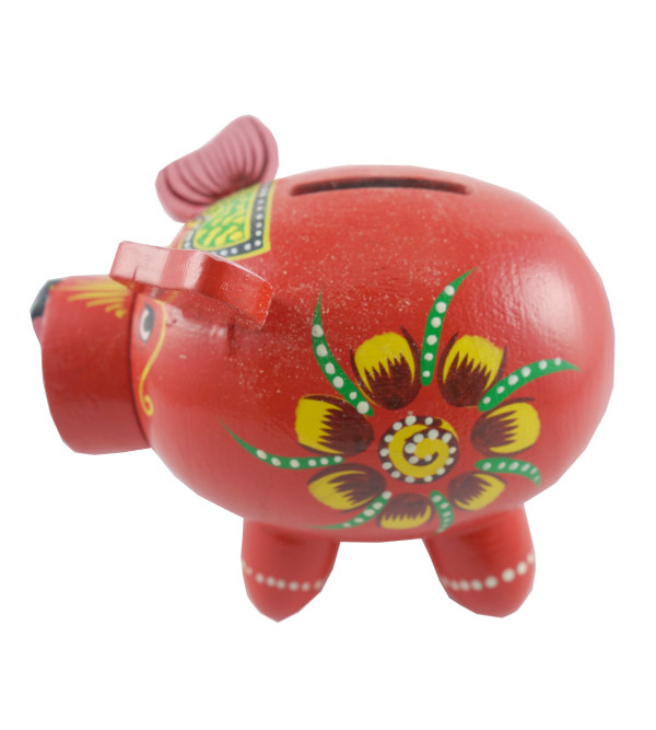 HANDICRAFT WOODEN PIGGY BANK SMALL