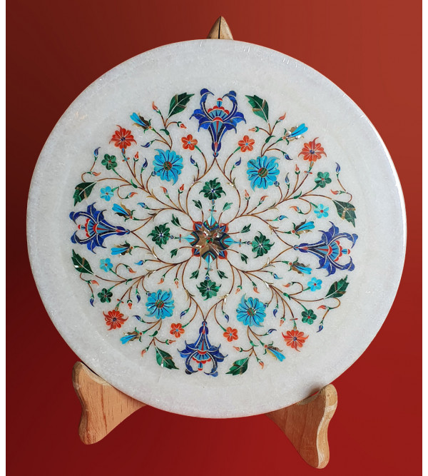 MARBLE PLATE 10 INCH  WITH SEMI PRECIOUS STONE INLAY