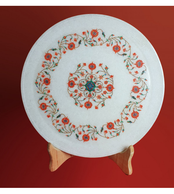 MARBLE PLATE 11 INCH  WITH SEMI PRECIOUS STONE INLAY