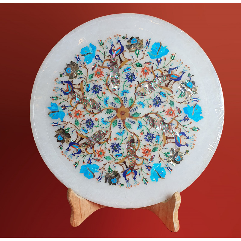 MARBLE PLATE 12 INCH  WITH SEMI PRECIOUS STONE INLAY