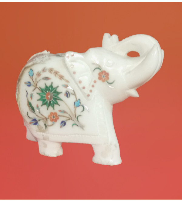 Alabaster 5inch Elephant with semi precious stone inlay