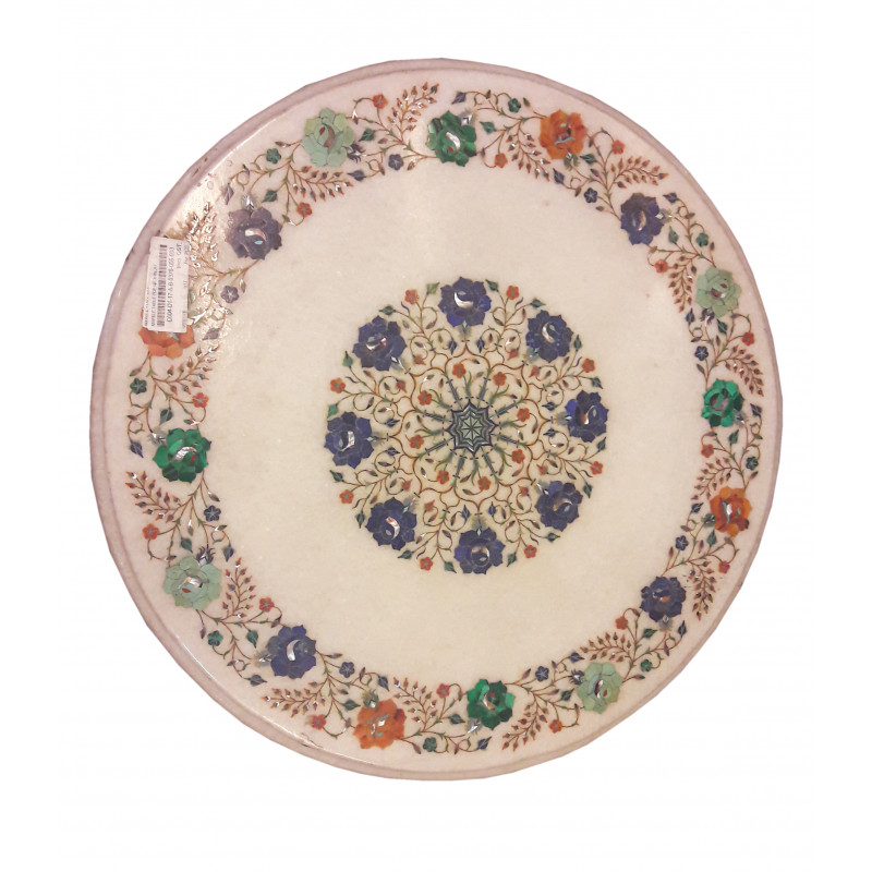 Marble Table Top With Semi Precious Stone Inlay Size- 21x21 inch