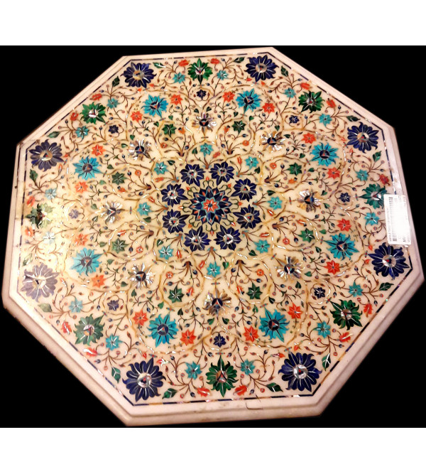 Marble Table Top with  Inlay Semi Precious Stone