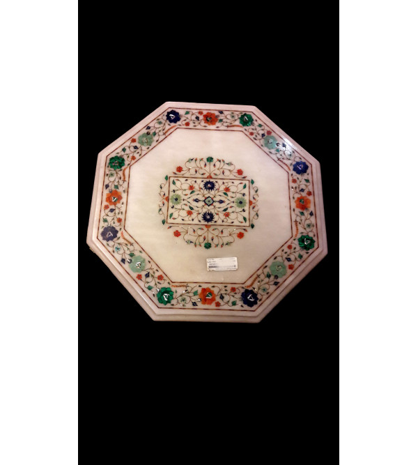 Marble Table Top With Semi Precious Stone Inlay Size- 19x19 inch