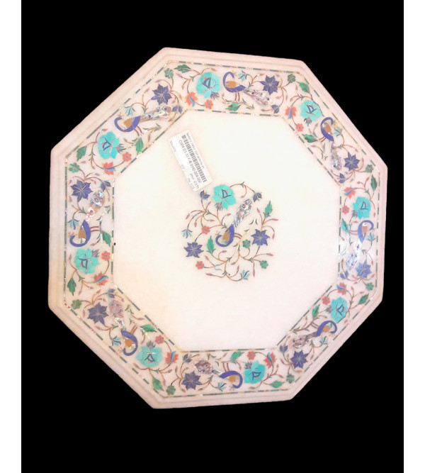 Marble Table Top With Semi Precious Stone Inlay S-15x15 inch.
