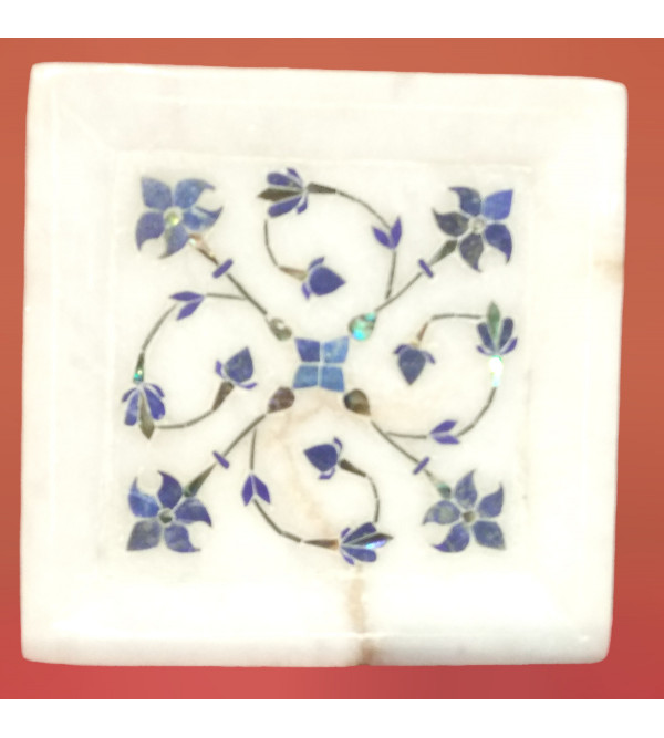 Alabaster Tray With Semi Precious Stone Inlay Work Size 4x4 Inch