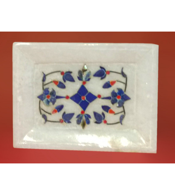 Alabaster Tray With Semi Precious Stone Inlay Work Size 4x3 Inch