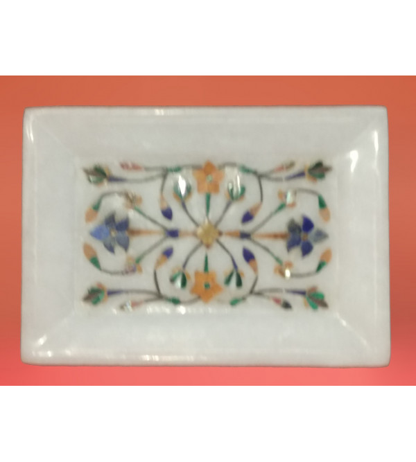 Alabaster Tray With Semi Precious Stone Inlay Work Size 5x3.5 Inch