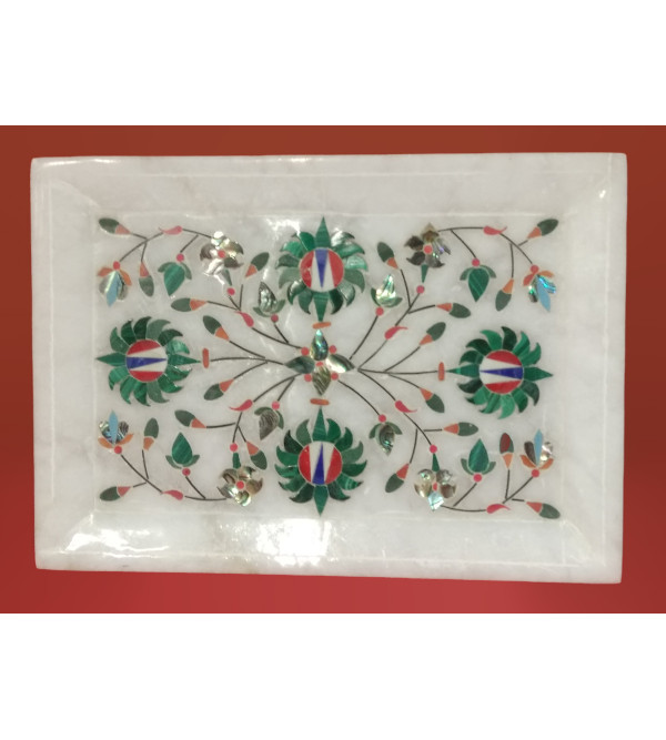 Alabaster Tray With Semi Precious Stone Inlay Work Size 7x5 Inch