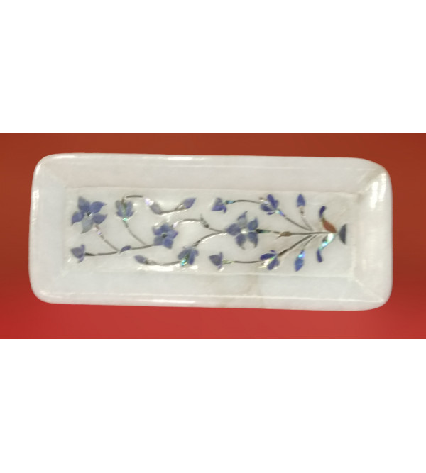 ALABASTER TRAY 6 X 2.5 INCH with semi precious stone inlay