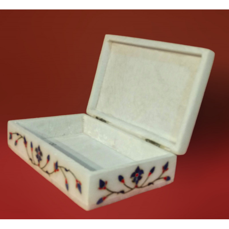 Alabaster Box With Semi Precious Stone Inlay Work Size 6x4 Inch