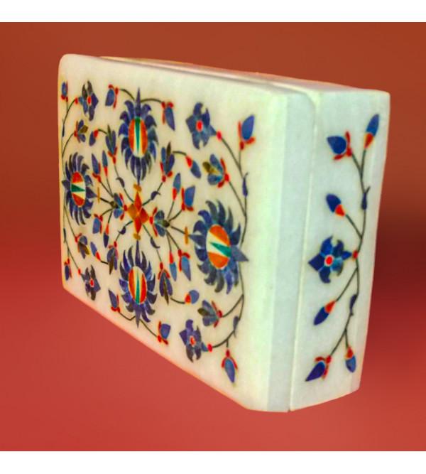 Alabaster Box With Semi Precious Stone Inlay Work Size 6x4 Inch