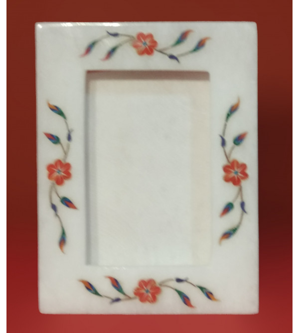 Alabaster Phot Frame With Semi Precious Stone Inlay Size 7x5 Inch