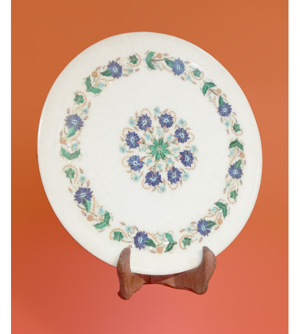 MARBLE PLATE 13 INCH  WITH SEMI PRECIOUS STONE INLAY
