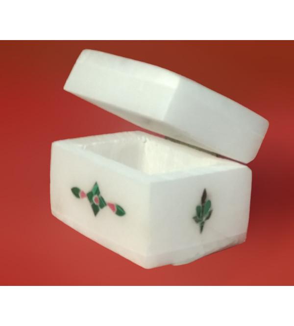 Alabaster Box With Semi Precious Stone Inlay Work Size 2x5 Inch