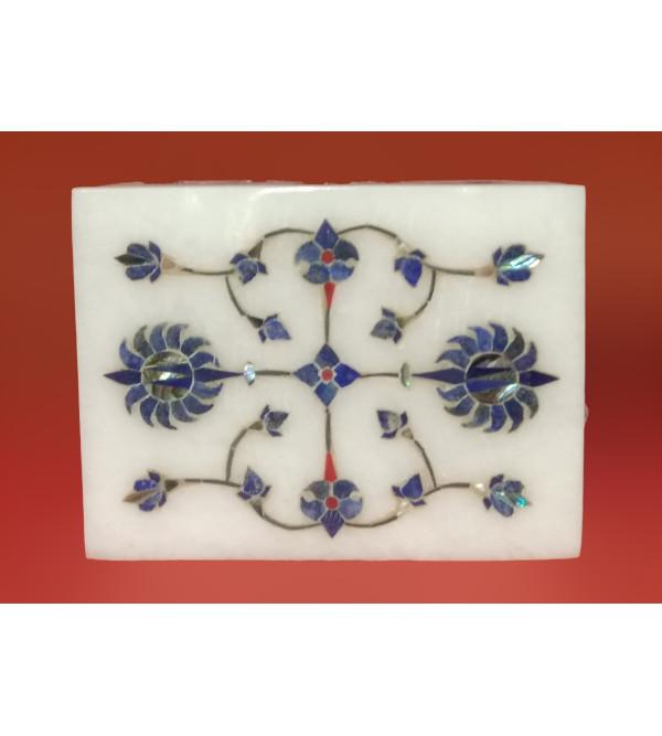 Alabaster Box With Semi Precious Stone Inlay Work Size 3x4 Inch