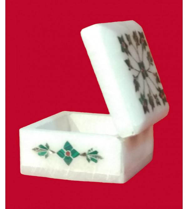 Alabaster Box With Semi Precious Stone Inlay Work Size 5x5 Inch