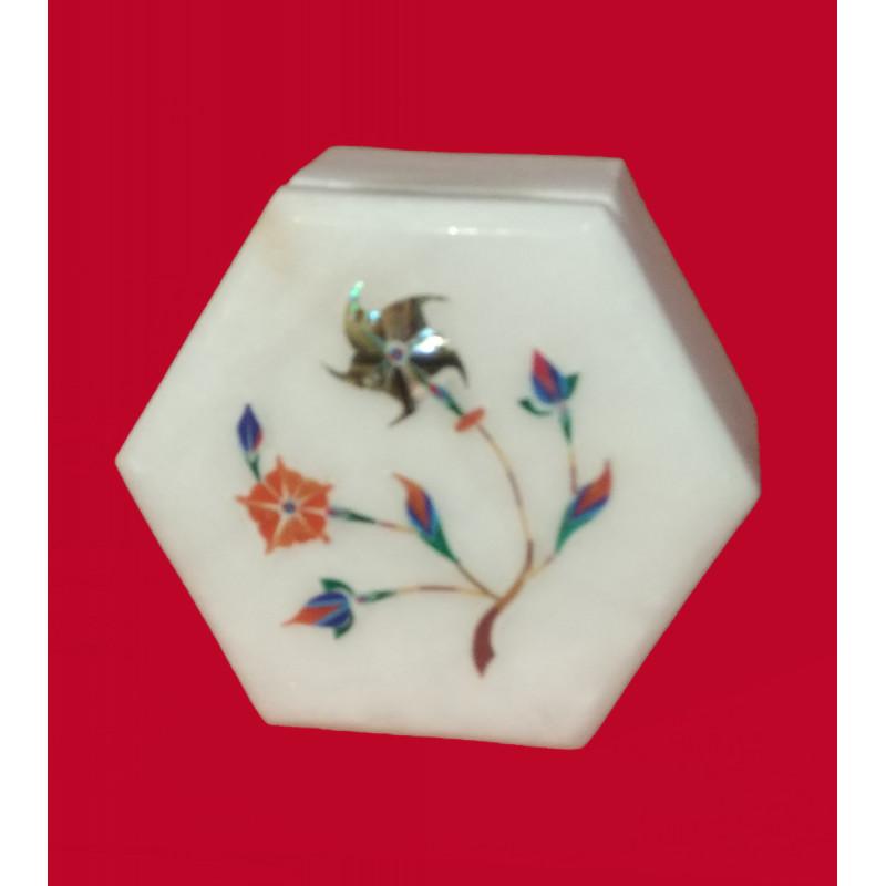 Alabaster Box With Semi Precious Stone Inlay Work Size 3x3 Inch