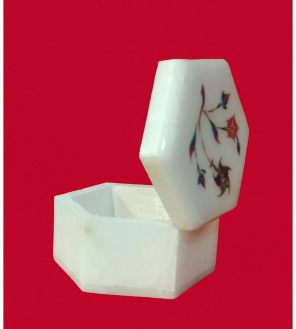 ALBASTER SEMI PRECIOUS STONE  BOX 3X 3 INCH  FINE WORK