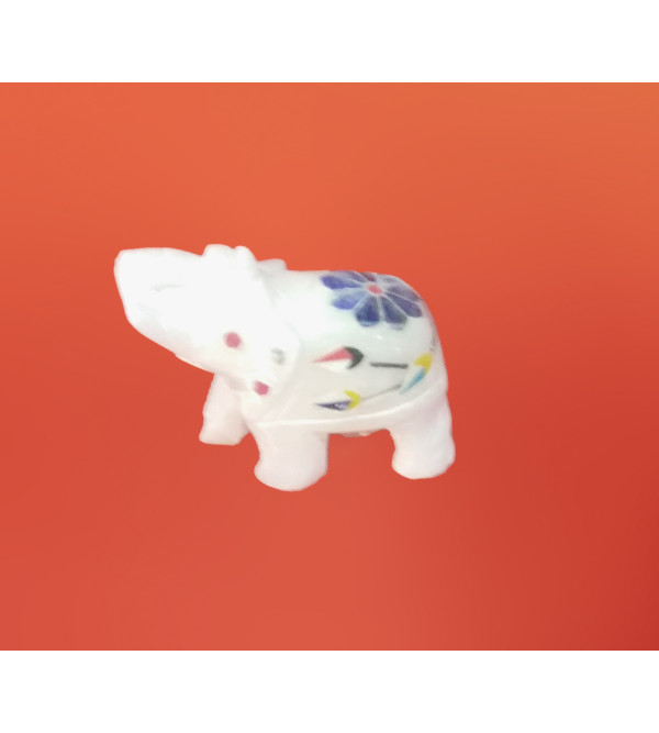 Alabaster Elephant With Semi Precious Stone Inlay Work Size 5 Inch