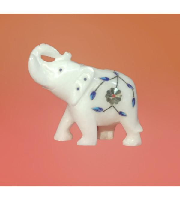 Alabaster Elephant With Semi Precious Stone Inlay Work Size 3 Inch