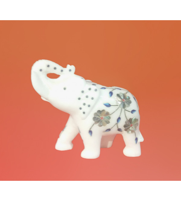 Alabaster Elephant With Semi Precious Stone Inlay Work Size 4 Inch