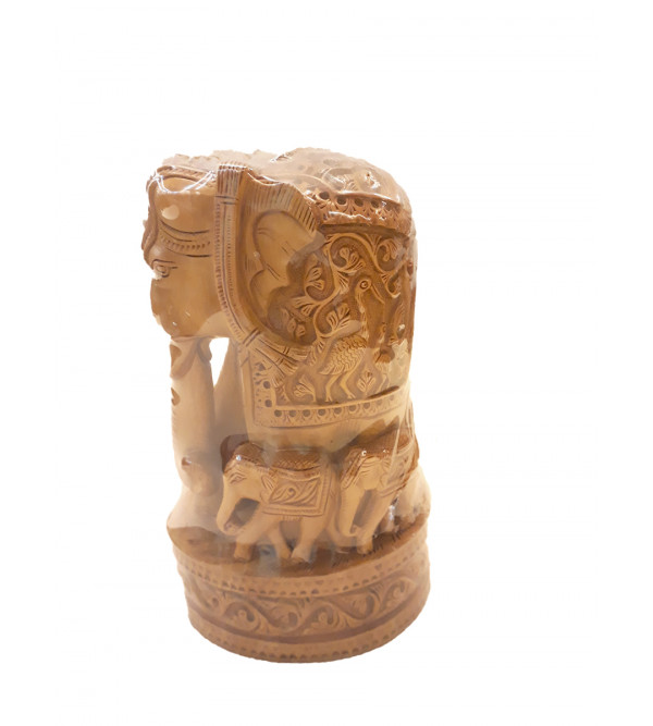 Sandalwood Handcrafted Carved Elephant with Baby Elephant