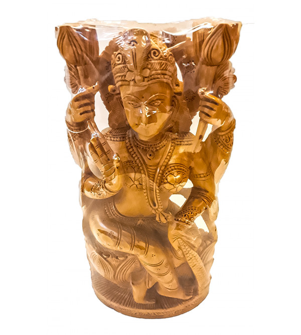Kadamba wood Handcrafted Carved Goddess Laxmi Figure