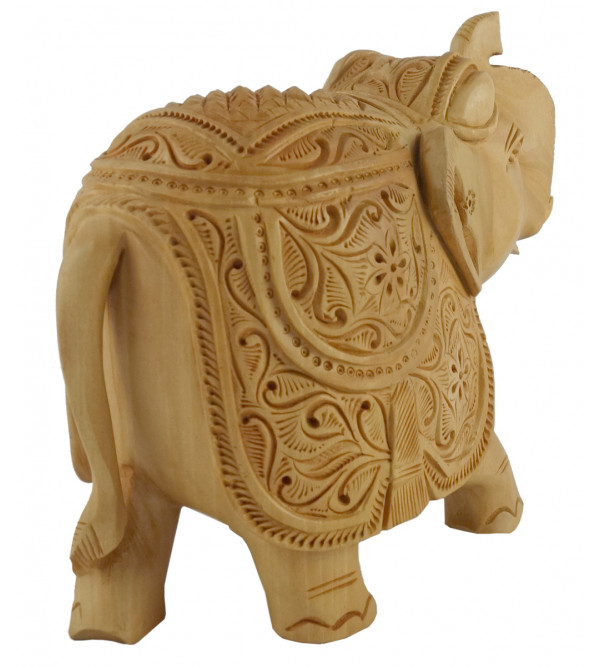 KADAM WOOD ELEPHANT CARVED 5 INCH