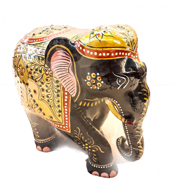 ELEPHANT PAINTED SALAMIDAR KADAM WOOD 6 INCH