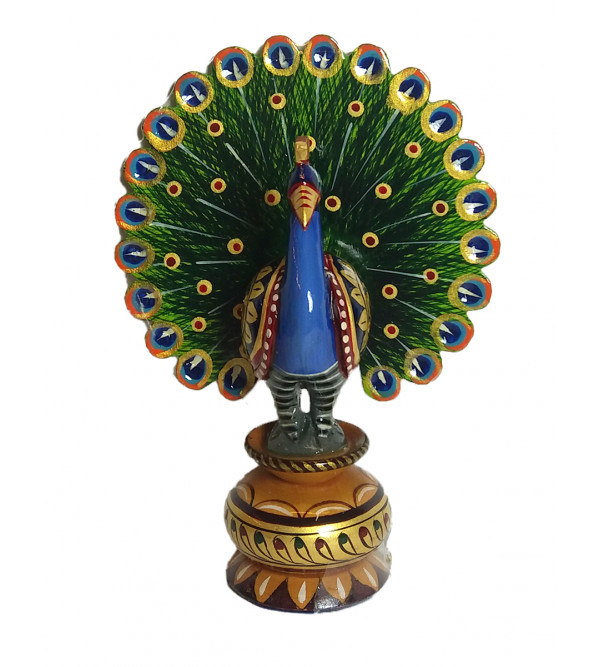 Hand painted wooden peacock 5 inch