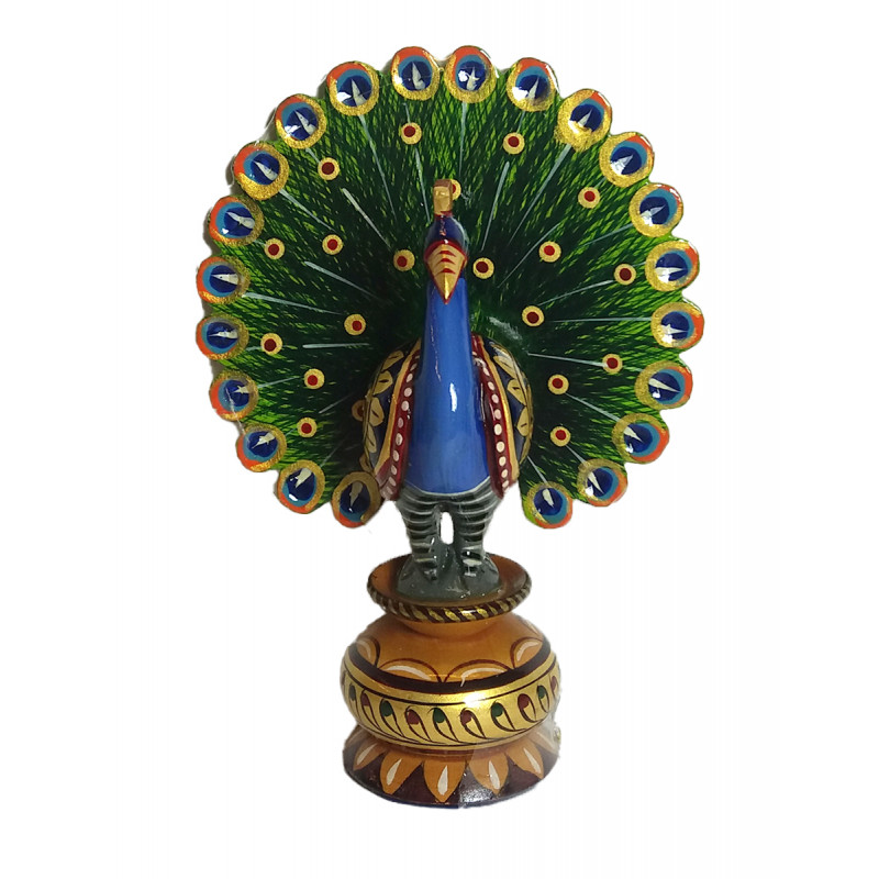 Kadamba Wood Handcrafted and Hand Painted Peacock