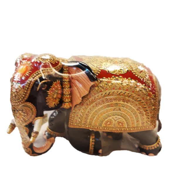 ELEPHANT PAINTED PATHA KADAM WOOD 9 INCH